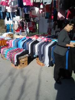 A Clothes Stall at Kolimbari Local Friday Market.