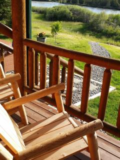 Enjoy log rockers on the Log Cabin porch