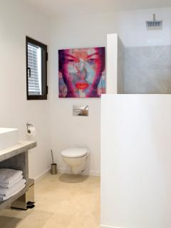 Guest bathroom, with toilet,  rain shower, hair dryer, luxury towels