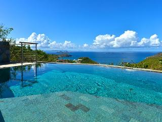 Perched high on Flamands hillside overlooking turquoise waters WV MJS, St. Barthelemy