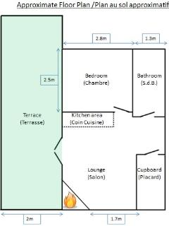 Approximate floor plan to give you an idea of the size and layout of the apartment.