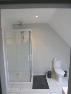 Salle d'eau, lavabo, WC, suite parentale.