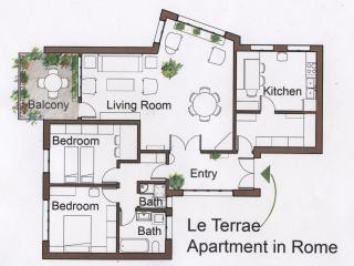 The spacious floor plan: Note that all the rooms have external windows and the apartment is naturall