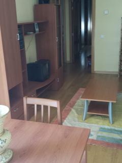 Salón principal vista 2. Suelos de tarima en toda el apartamento.