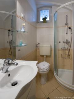 Bathroom with a shower cabin in studio apartment Nika
