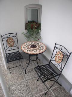 Outdoor seating are near privat entrance
