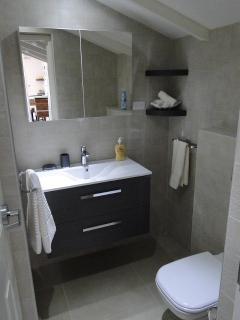 stylish bathroom with rain shower/hot water/toilettries/hair dryer