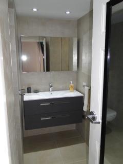 stylish bathroom with hot water
