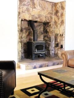Beautiful wood burning fireplace