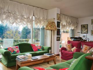 living room with huge glass wall