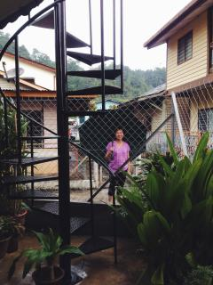 Your private entrance, enter via a spiral staircase designed by me & that's my mom. :)
