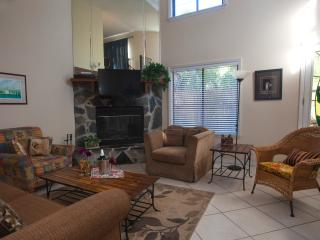 The living room features a vaulted ceiling, fireplace, queen sofa sleeper, and plenty of seating.
