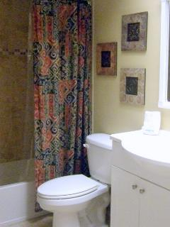 Remodeled guest bathroom with tub and shower