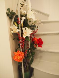 Flowers in stairway