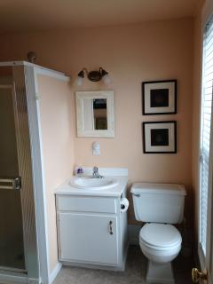 View of the nicely lighted Lakeview bathroom.