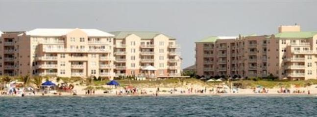 view of oceanfront buildings from private beach