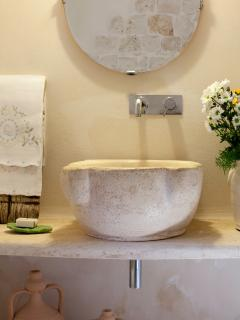 Traditional design in the main bathroom in the trulli