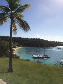 View of Honeymoon Bay at Water Island, from the bluff above.