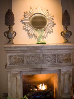 Fireplace in outdoor sala