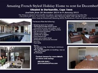 Charming 3 Bedroom Holiday Rental in Durbanville