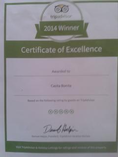 We won the 2014 TripAdvisor award:)