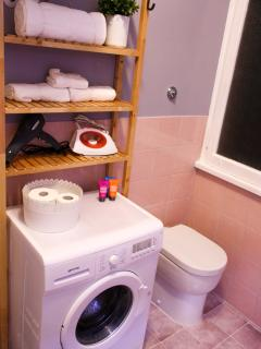 Bathroom - Shower - Hair dryer - Washing machine - Iron