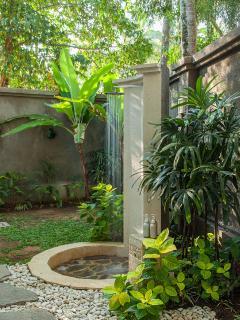 Outdoor shower at the inner garden
