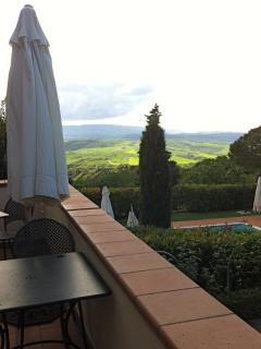 view from the terrace on the tuscany landscape