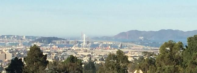 View from windows, white tower is the new Bay Bridge tower.  Beyond is the Golden Gate Bridge.