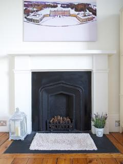 The fire place in the master bedroom