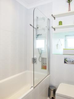 The main bathroom with over head shower