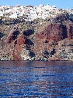 the village of Oia from the sea view