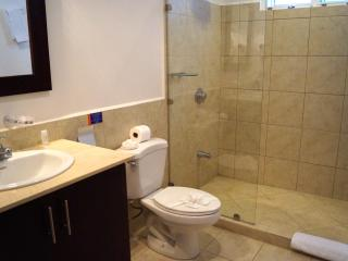 Bathrooms are tiled and modern.