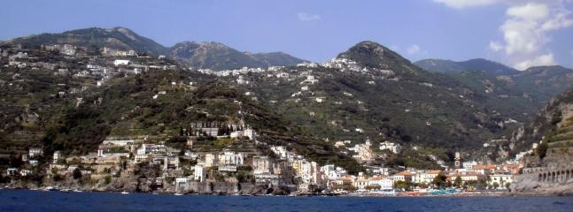 View of Minori (left), Marmorata (right) and Ravello (up on the hill)