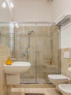 Bathroom with large shower with chromotherapy