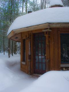 The cabin in deep snow, early winter 2014.