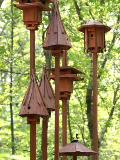 Some birdhouses on the property.