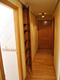 pasillo distribuidor con armario empotrado. suelos de tarima y puertas y carpintería de roble