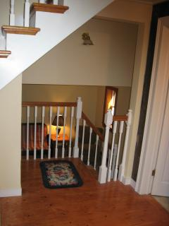 1/2 flight of stairs down to living room.