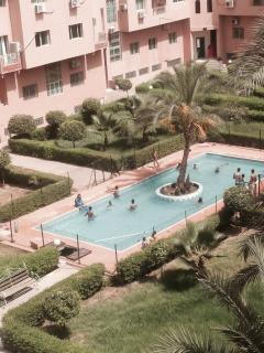 swimming pool, the view from the balcony