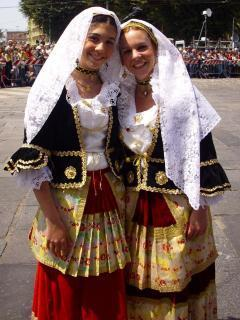 Sardinian costumes in Cagliari during the pageant held on 1st May every year
