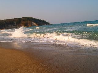 la plage sauvage en contrebas