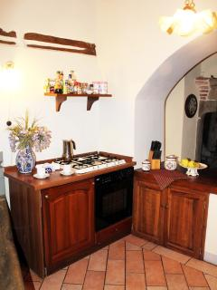 kitcehn area is in old style units, with oven hob, oven, large fridge freezer