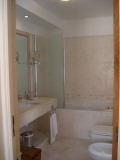 Twin basins, lavatory, bidet and whirlpool bath with shower over.
