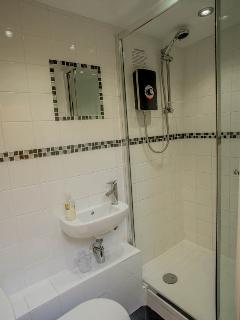Shower room includes an electric power shower, wash basin, toilet & underfloor electric heating