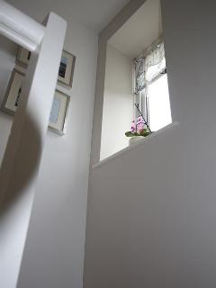 Landing and other rooms painted in tranquil Farrow and Ball paint colours