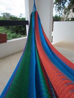 Spacious balcony with a comfy hammock