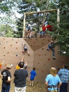 climbing wall and rappelling platform