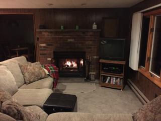 Living Room w/wood-burning fireplace, TV & DVD/CD player