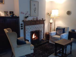 Sitting room showing beautiful fireplace